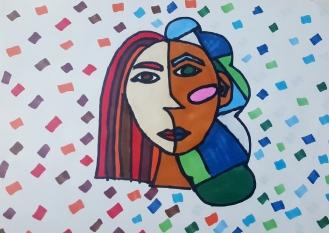 Prace uczniów klas 4-6 inspirowane Kubizmem